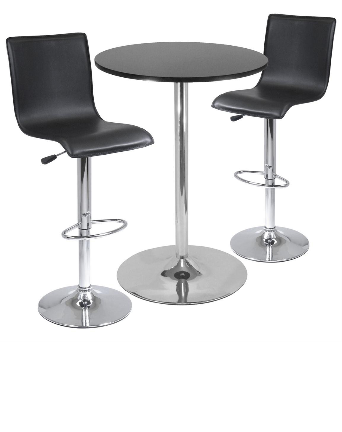 Simple Tall Bar Table With Black Round Table Top And Metal Base A Couple Of  Bar