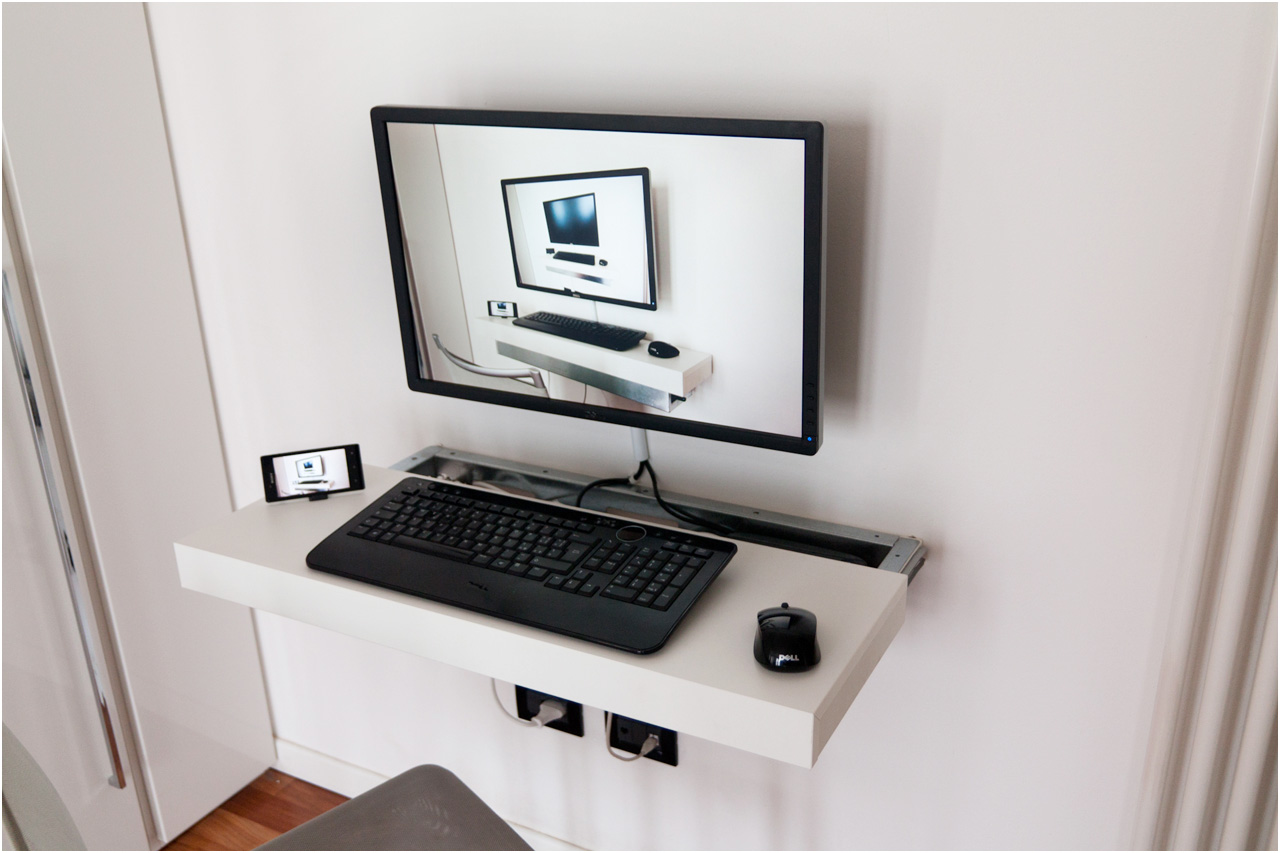 Simple White Wall Mounted Shelf For Computer