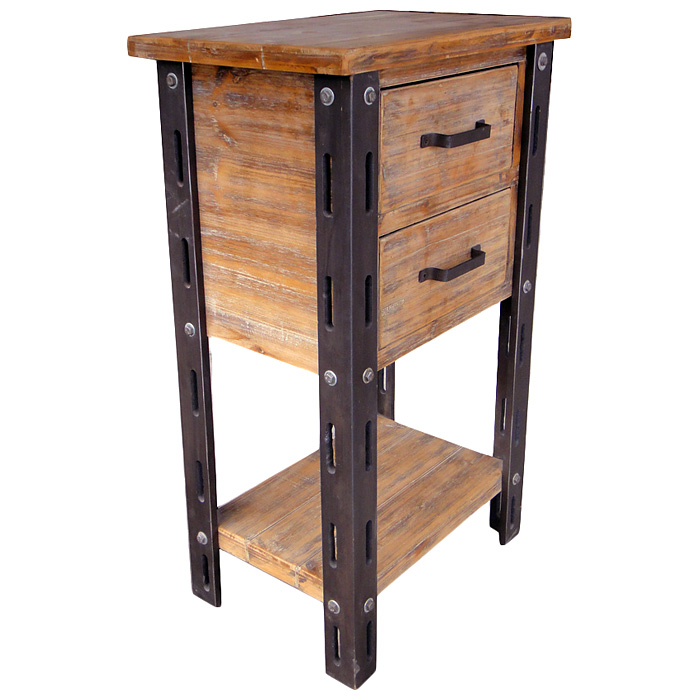 Attractive Tall Accent Table With Storage In Rustic Style