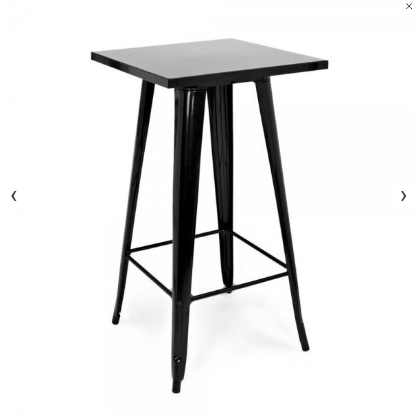 Tall Bar Table With Black Square Tabletop