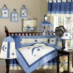 Teddy Bear nursery room theme idea with wood baby crib a wood side table a modern table lamp with white lampshade decorated with blue stars