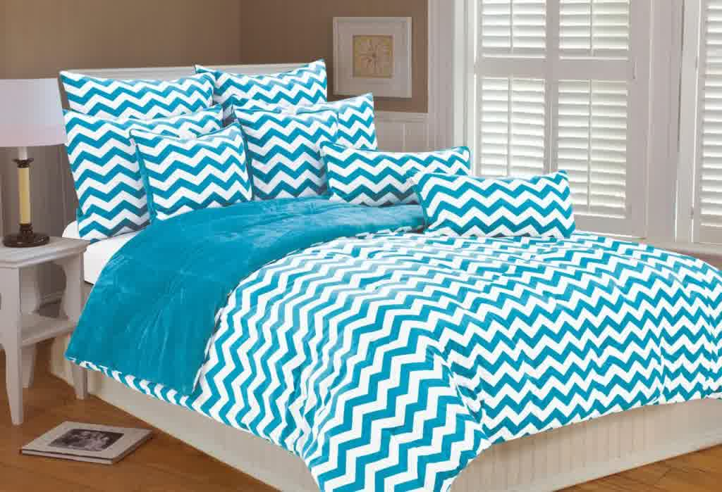 Black And Turquoise Chevron Bedding