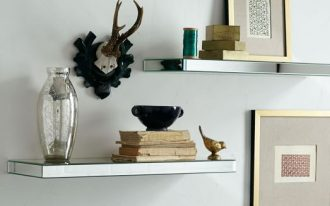 Two units of mirror wall shelf for picture frame books and decorative items