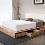 Unfinished Zen platform bed frame idea with pull out drawers underneath and wall mount white headboard