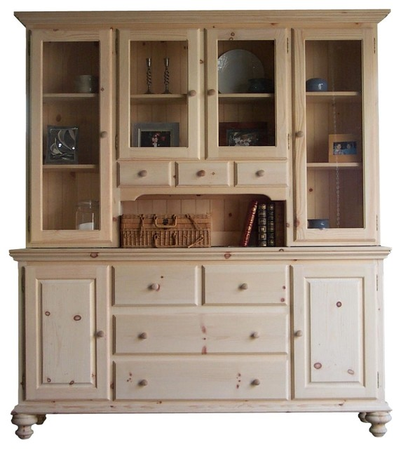 Unfinished Wood Sideboard With Hutch In Classic Style