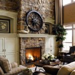 Unique Stone Fire Places With Rustic Decoration And Round Table