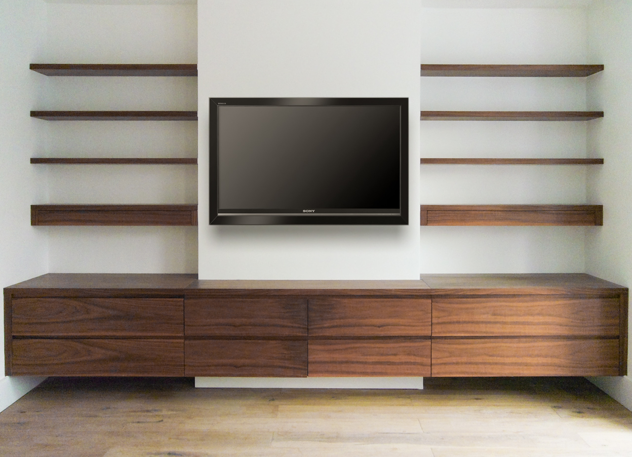 Wall Media Shelves With Clear Finishing