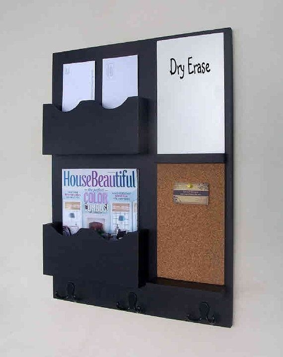 Wall mount mail organizer idea made of black finished wood - Wall Mounted  Mail Organizer: - Wall Mount Mail Holder Cymun Designs