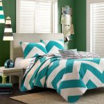 White and turquoise bedding set idea in modern motif standard size bed frame with white headboard white bedside table