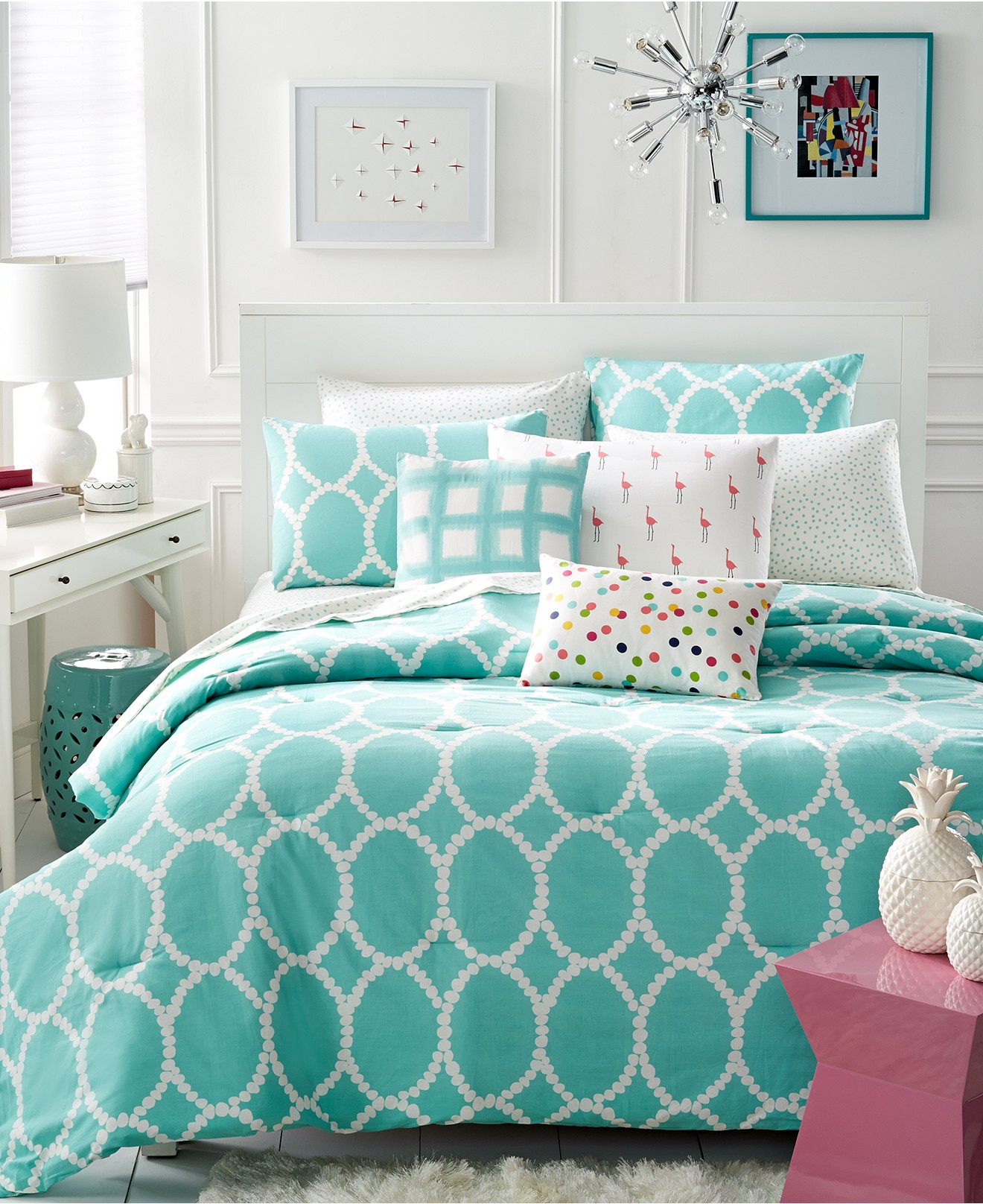 Turquoise And White Bedding Set Product Selections
