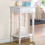 White classic accent table with shelf underneath and small drawer