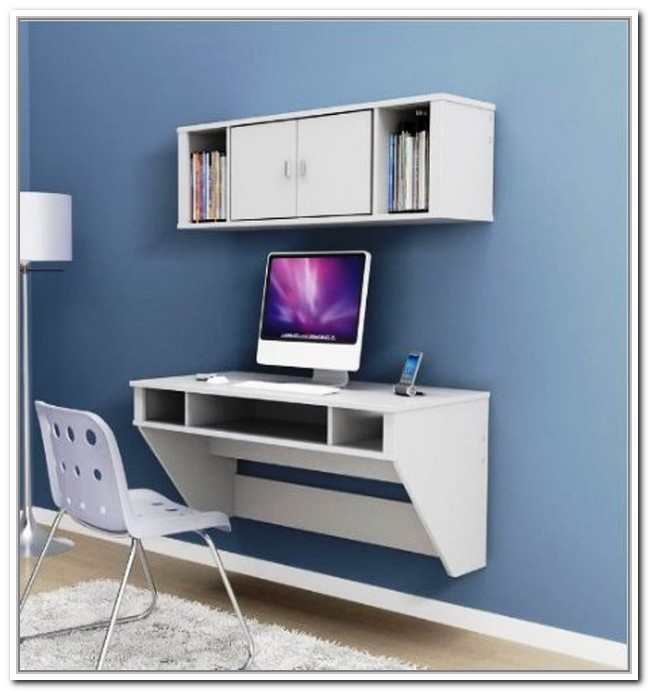 White floating computer desk by IKEA a white wall mounted storage with ...
