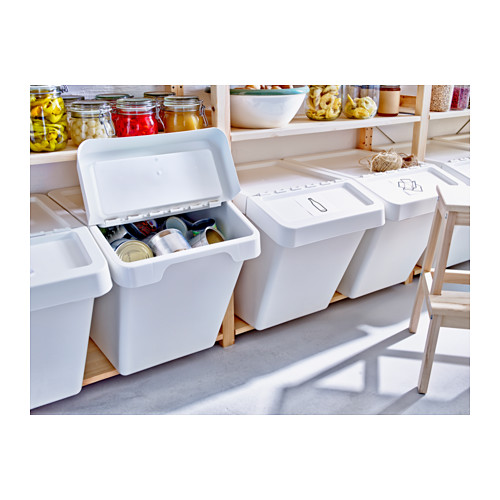 White recycle bins with top by IKEA
