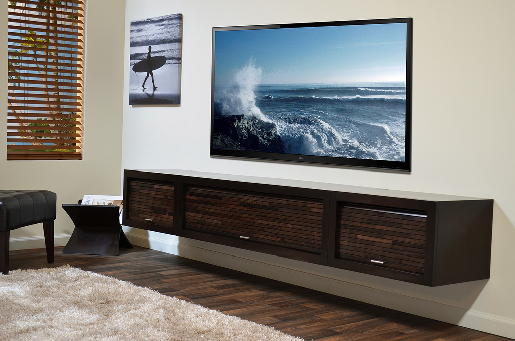 Wood Floating Media Shelves Design Idea In Black Finishing A Large Flat Tv Set Mounted On