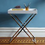 X base end table with white rectangular tabletop