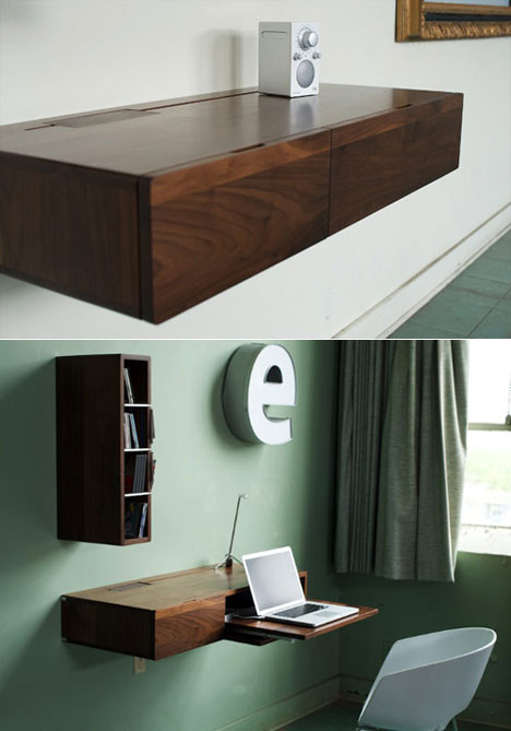 Floating Wood Shelves Design Idea With Pull Out Shelf For Computer