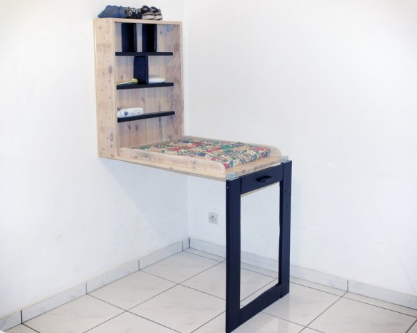 foldable baby changing desk made of wood