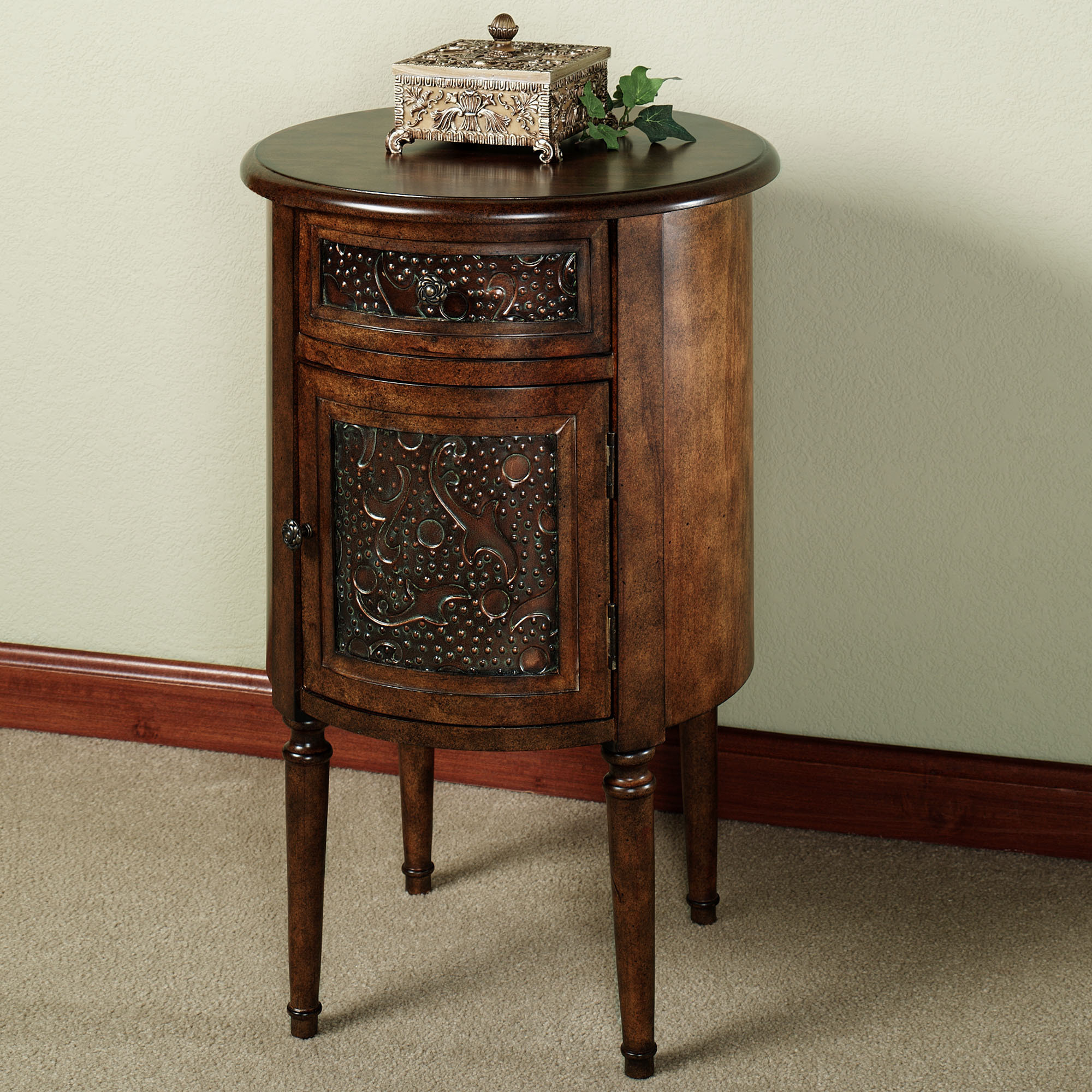 Tall Wood Accent Table With Round Tabletop And Handcrafted Decoration On  Storage Door