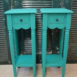 twin tall accent tables in turquoise