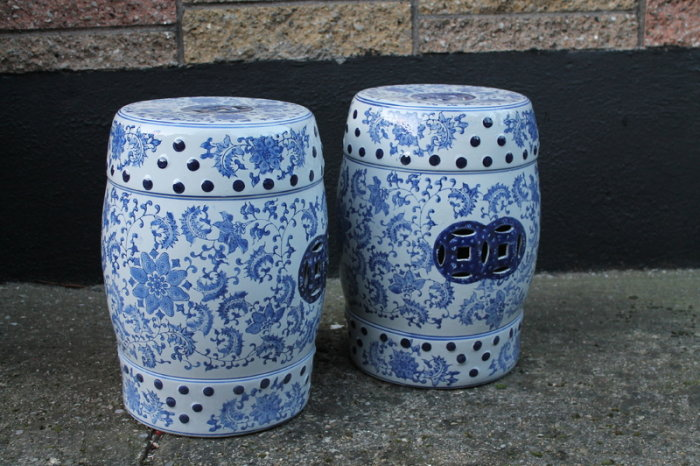 Beautiful A Pair Of Blue And White Garden Stools