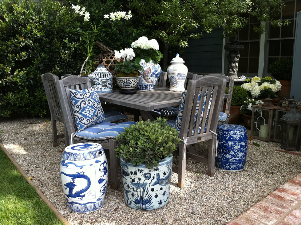 Blue And White Garden Stool Friendly Space Outdoor