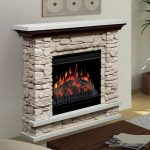 An electric fireplace with white natural stone frame and white finished wood mantel