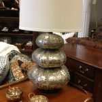 Beautiful sea urchin base lamp in white with black lampshade