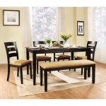Beige cushioned dining bench four units of dining chairs with beige cushions