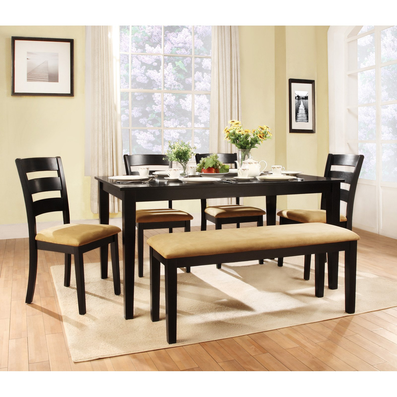 Modern bench style dining table set ideas homesfeed for Dining room furniture benches ideas