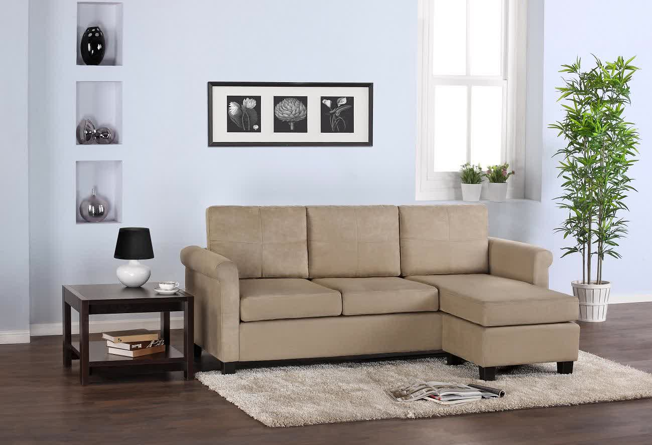 Beige Sectional Sofa With Chaise For Small Space Small White Fluffy Rug  Dark Finished Wood Side