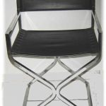 Black leather director chair with stainless steel frame