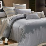 Elegant and modern bedding set idea in dark and soft gray tone colors