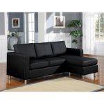 Elegant black sectional with single chaise in small size