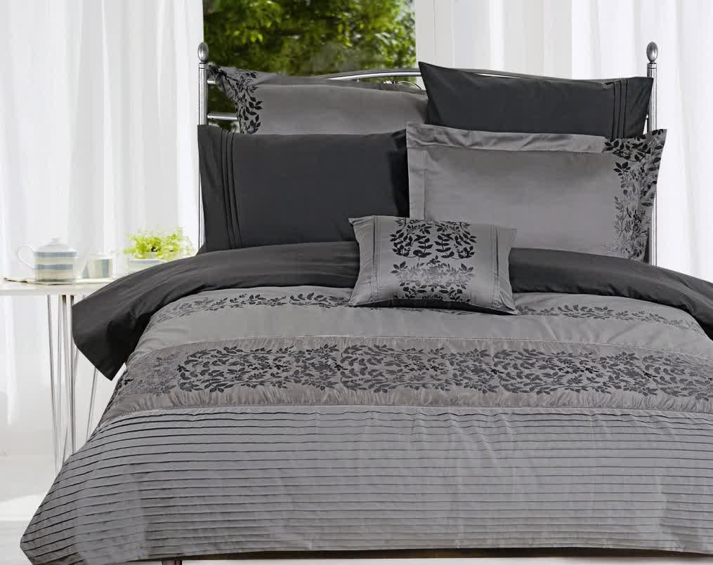 Contemporary luxury bedding - Gray Bedding Idea With Black Floral Motif