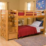 Hardwood kids loft bed IKEA idea with built in stairs