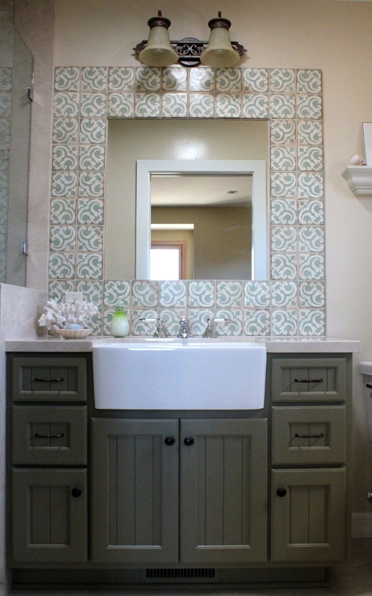 Large Farm Sink Idea In White For A Modern Bathroom Vanity Mirror With Patterned Ceramic
