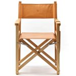 Leather director chair with unfinished wood frame