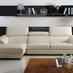 Minimalist white sectional sofa for small minimalist living room brown fluffy area rug