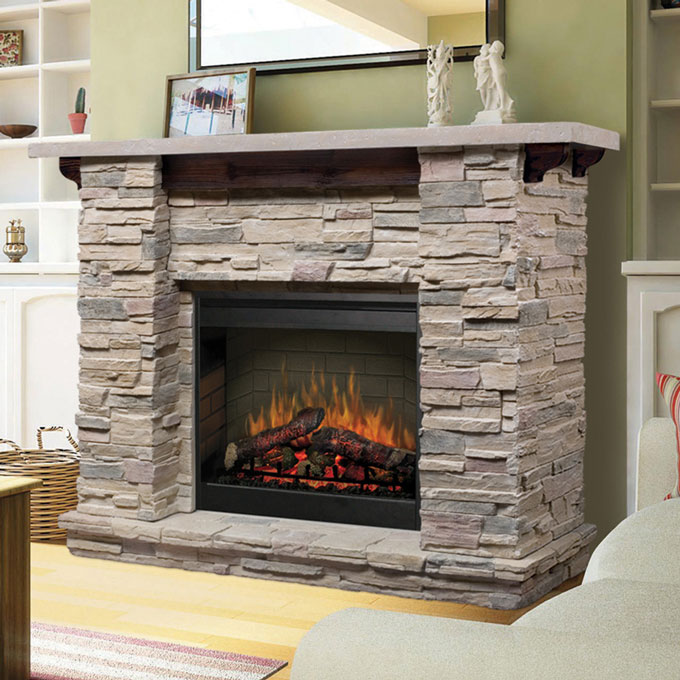 stone electric fireplace for modern rustic home designs homesfeed