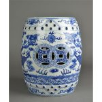 Oriental ceramic garden stool idea in blue and white colors