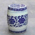 Oriental ceramic garden stool in white and blue color