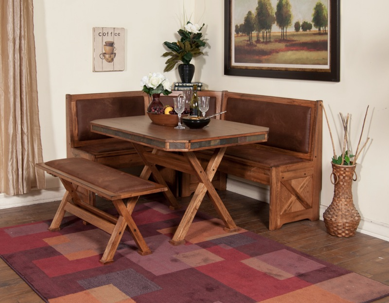 Attractive Rustic Kitchen And Dining Benches Idea At The Corner X Base Dining Table In  Rustic Style Amazing Pictures