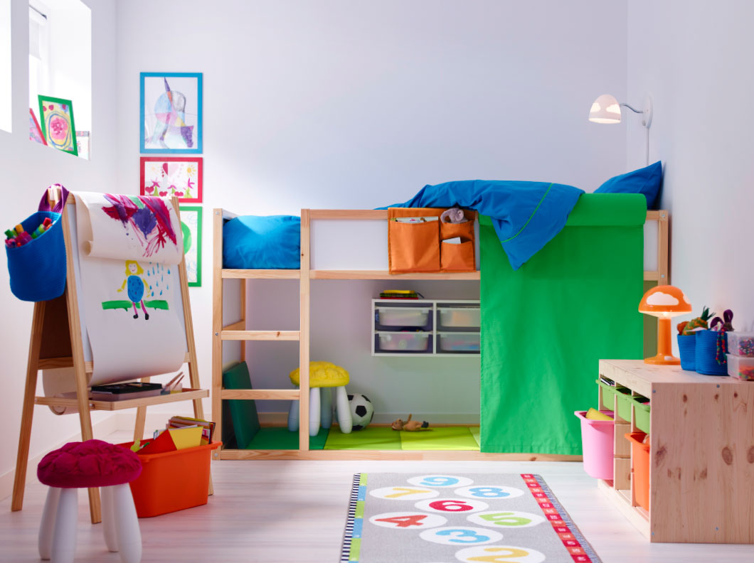 Merveilleux Simple Minimalist Wood Loft Bed IKEA For Kids Equipped With Built In Ladder