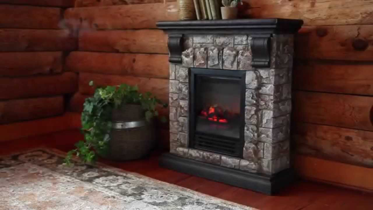 Stone electric fireplace for modern rustic home designs for Small fake fireplace
