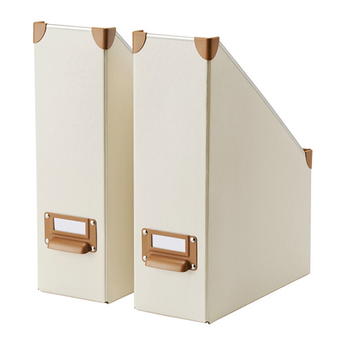 Soft Beige Magazine And Files Holders Designed By IKEA