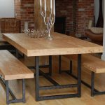 Solid wood dining benches with wrought iron base a solid wood dining table with wrought iron base