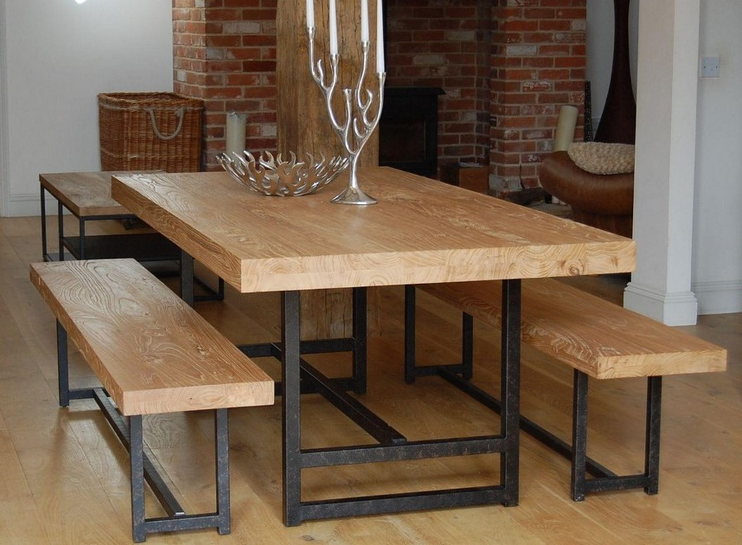 wood dining benches with wrought iron base a solid wood dining table