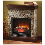 Stone electric fireplace with dark brown mantel and clear glass door