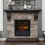 Stone electric fireplace with dark finished wood mantel