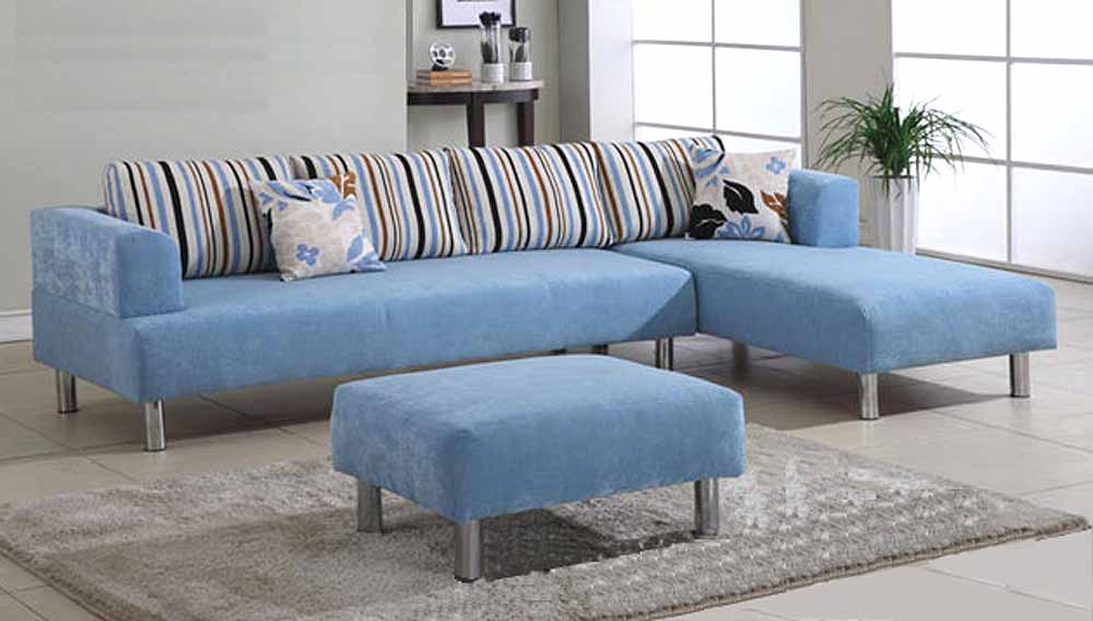 sweet blue sectional sofa with chaise a blue ottoman furniture
